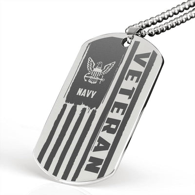 Navy Veteran Engraved Dog Tag Stainless
