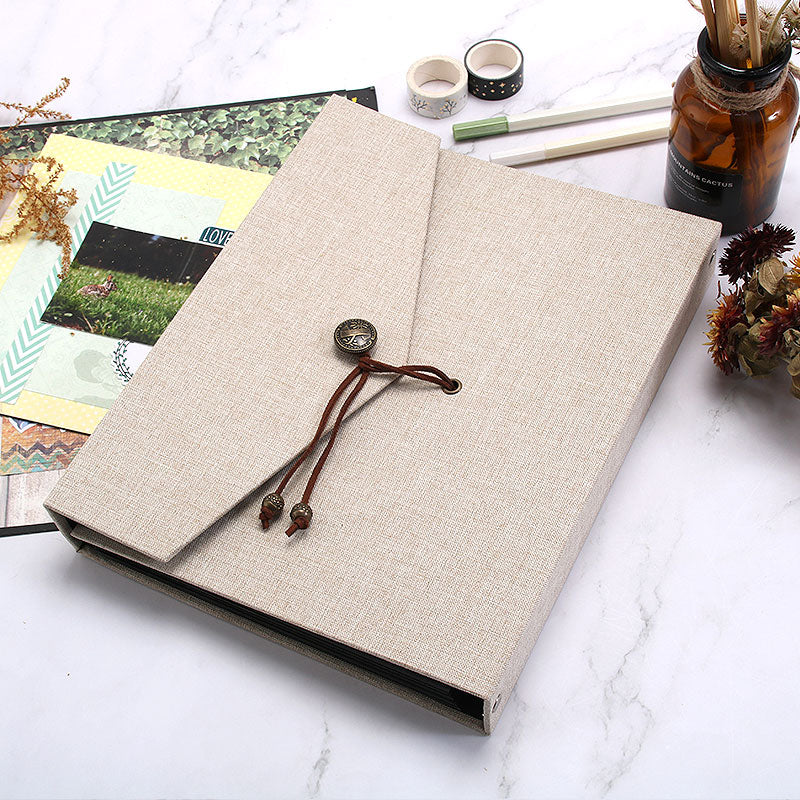 Linen Black Page Photo Album - Button