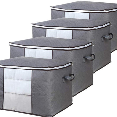 Clothes Storage Bag Set of 4 Grey