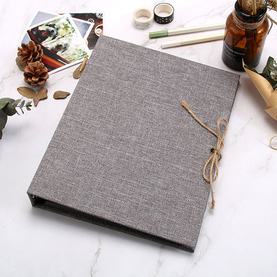 Linen Refillable Scrapbook - Beige/ Grey/ Brown