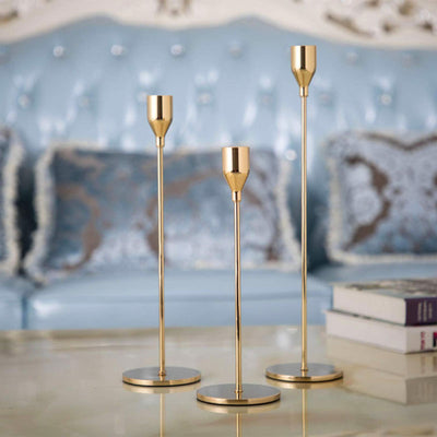 GoMaihe Candlestick Holders 3 Set, Gold