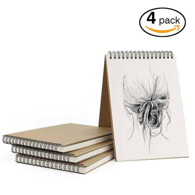 VEESUN A5 Sketchbook 4 Pack with Spiral