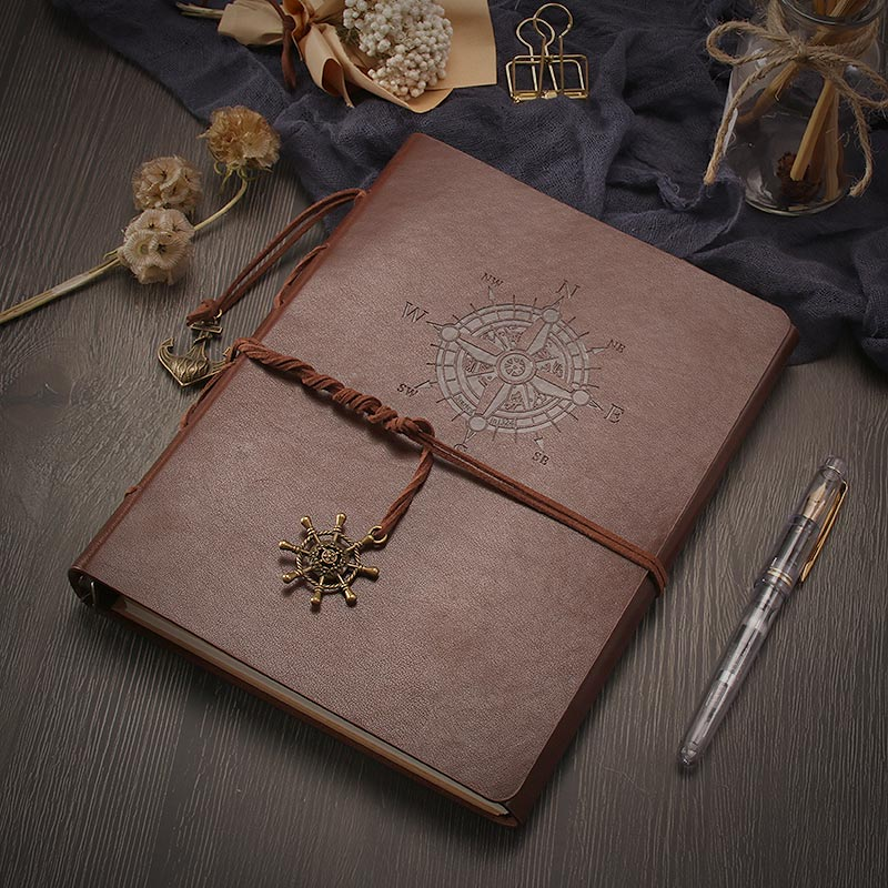 VEESUN A5 Journal Notebook Refillable Blank Sketchbook - Compass