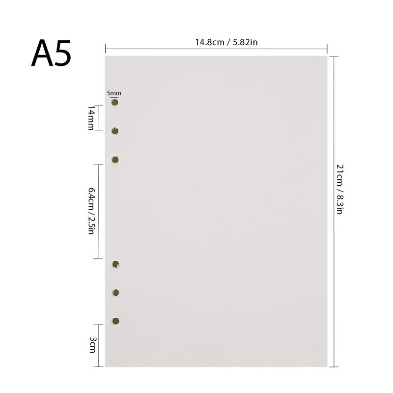 6-hole Blank Refill Pages for A5 Notebooks, 120pcs