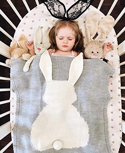 GoMaihe Baby Blanket Knit Rabbit