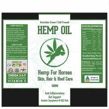 Load image into Gallery viewer, Hemp Seed Oil For Horses | 500ml Omega 3,6&9 + Anti-inflammatory