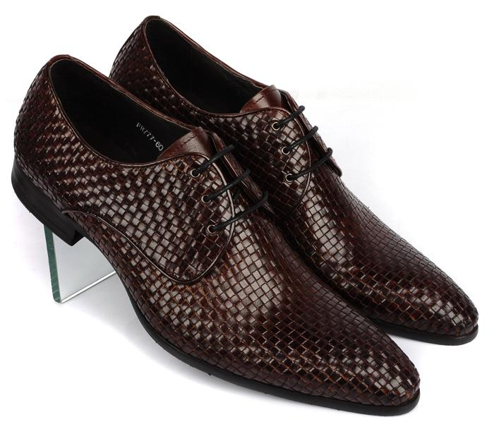 Knitted Leather Mens Fashion Business Office Dress Shoes Italian Oxfords Derby Shoes