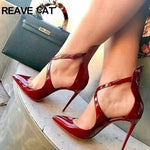 Load image into Gallery viewer, Women's pumps Pointed toe Slip on Patent leather Wine Solid Glitter Party shoes