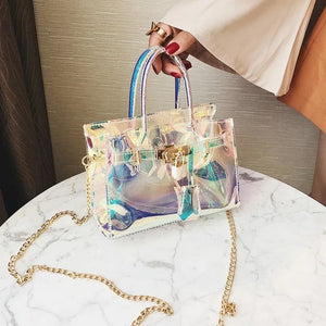 Laser Hologram Women Transparent Bag clutch purse Shoulderbag