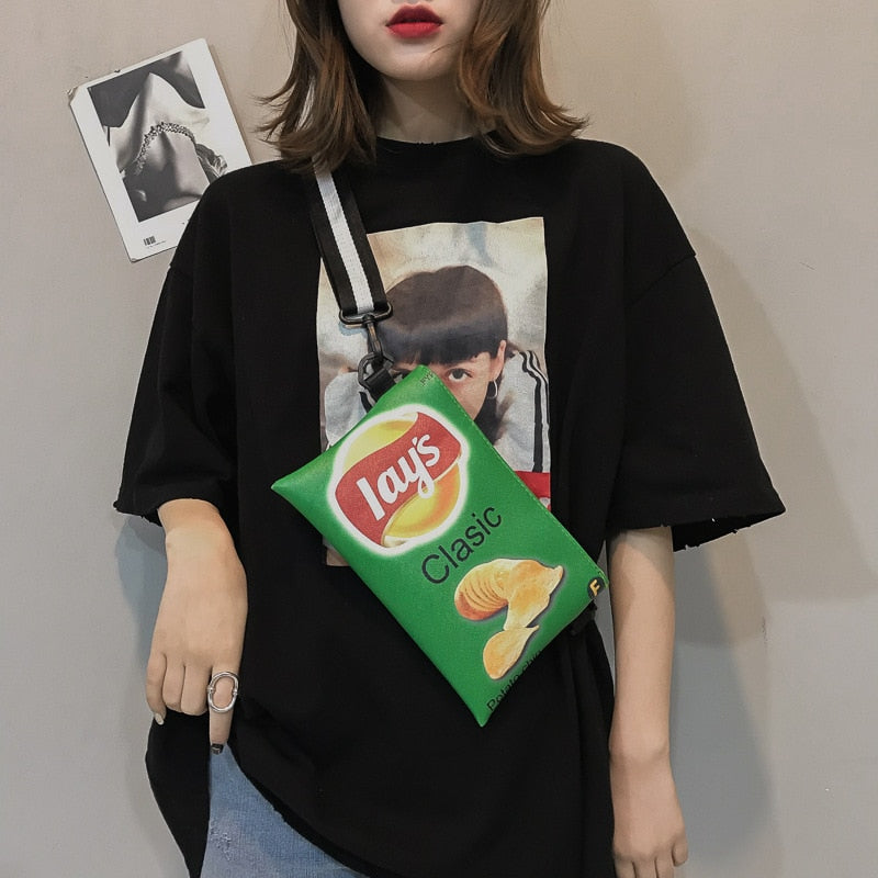 Fashion Candy Color Women Potato Chips Bags Crossbody Bags