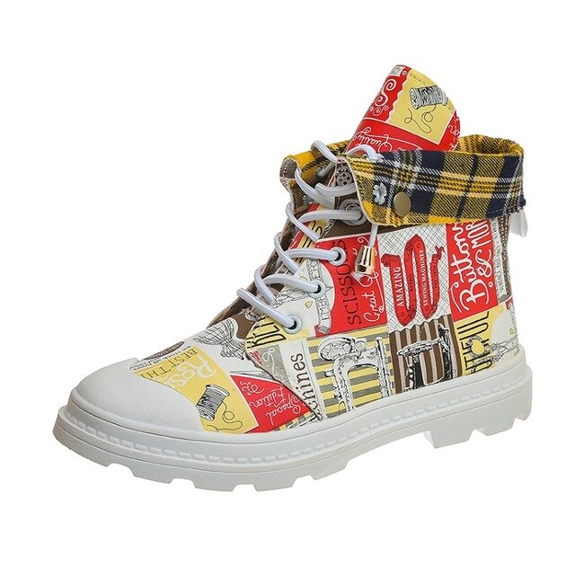 Trendy wild belt with increased printing graffiti hand-painted universal shoes