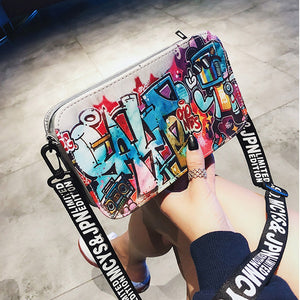 Fashion Ladies Personality European and American Tide Graffiti Zipper Shoulder Bag