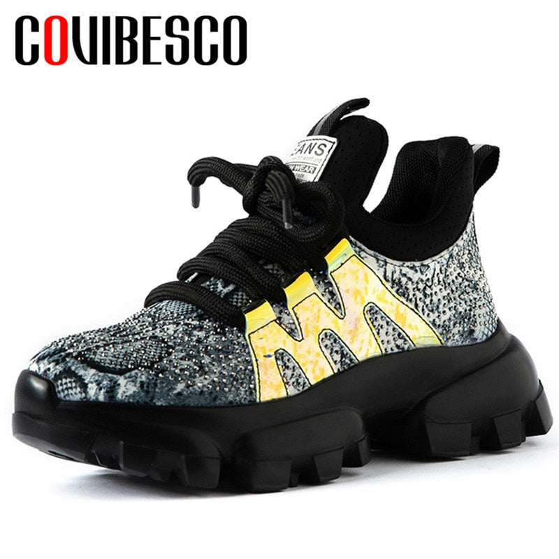 Women Crystal Decoration Genuine Leather Sneakers Quality Flats Platform Casual Shoes