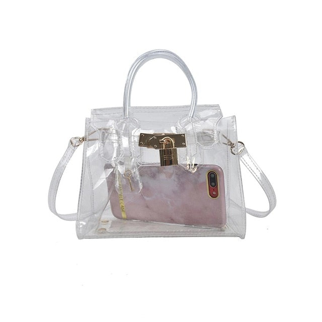 PVC Clear Jelly Bag Women Shoulder Bags Transparent Candy Color Lock Buckle Simple Crossbody Bags