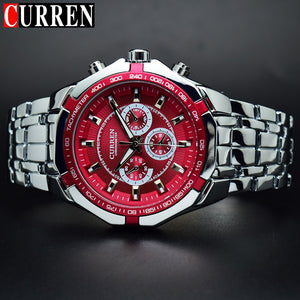 Men's Watch Red Dial Stainless Steel Water Resistant Man Watches
