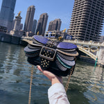 Load image into Gallery viewer, Female new personality snake pattern contrast color small square bag shoulder Messenger bag