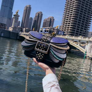 Female new personality snake pattern contrast color small square bag shoulder Messenger bag