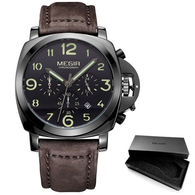 Men's Chronograph Luminous Quartz Watches with Calendar Date Leather Strap