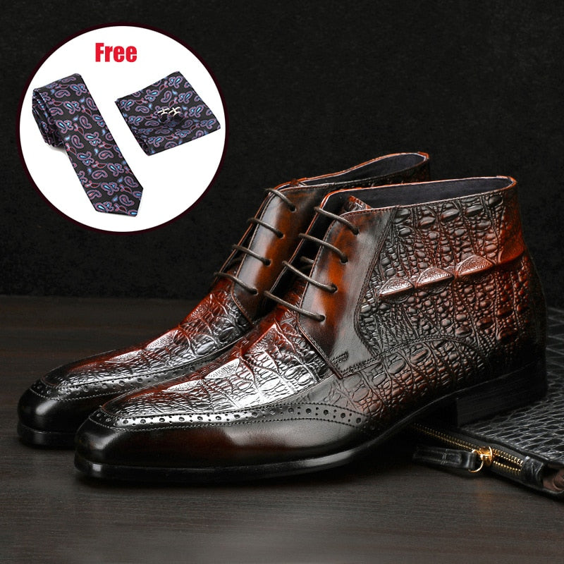 Genuine cow leather chelsea boots brogue casual ankle flat shoes