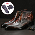 Load image into Gallery viewer, Genuine cow leather chelsea boots brogue casual ankle flat shoes