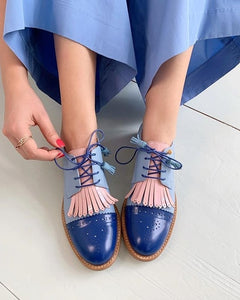 Women's Shoes - Vintage Women Fashion Round Toe Lace Up Oxford Shoes