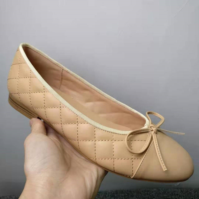 Single Shoes Woman Two Color Splicing Classic Bow Tie Ballet Shoes