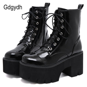 Woman Lace Autumn Boots Womens  Chunky Wedge Platform Black Patent Leather Ankle Boots