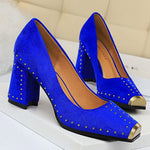 Load image into Gallery viewer, Fashion Women Pumps Rivet Metal Heels Women Shoes