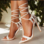 Load image into Gallery viewer, Fashion 2020 summer women's sandals PU lace-up knot ladies high heel sandals sexy leopard woman shoes