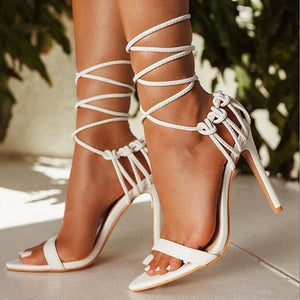 Fashion 2020 summer women's sandals PU lace-up knot ladies high heel sandals sexy leopard woman shoes