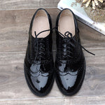 Load image into Gallery viewer, woman genuine leather flats summer brogues vintage laces loafers casual sneakers