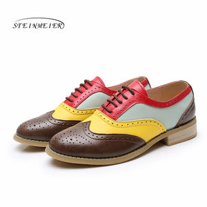 woman genuine leather flats summer brogues vintage laces loafers casual sneakers