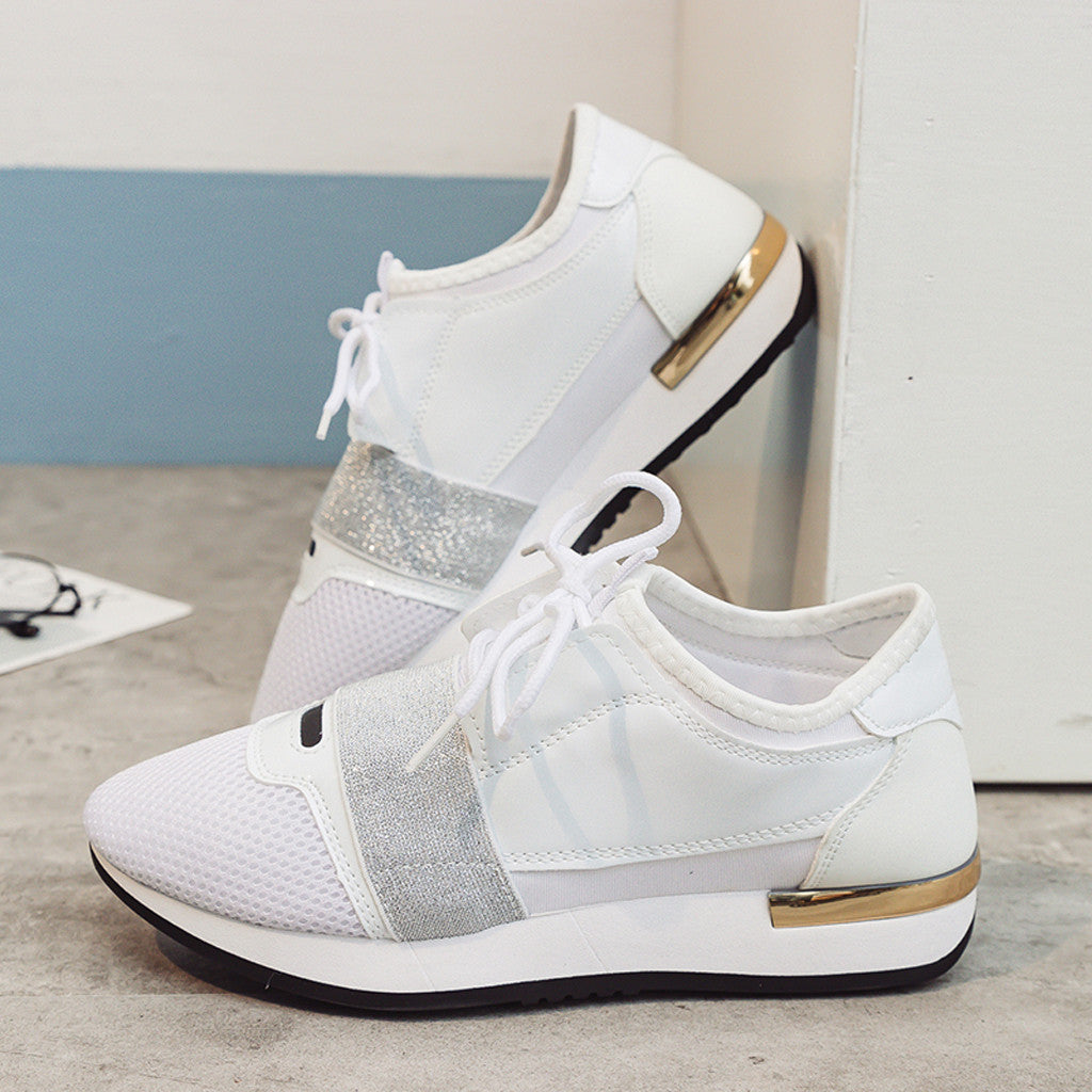 Women's Fashion casual shoes low-heeled shoes stitching sneakers breathable sports shoes