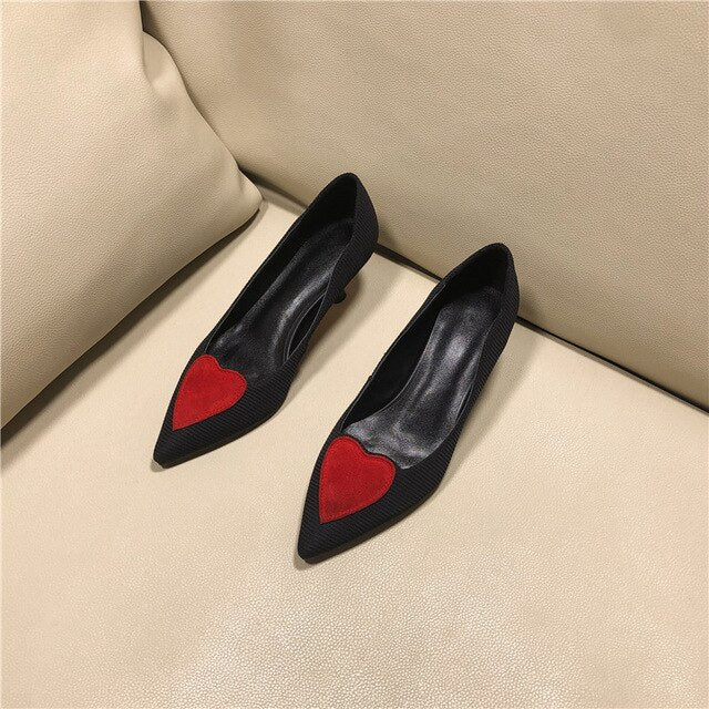 High Heels Women Pumps Natural Genuine Leather Kitten High Heel Party Shoes