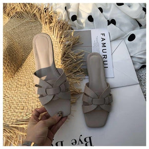 Summer Slides Open Toe Flat Casual Shoes Leisure Sandal Female Beach Flip Flops Big Size 41
