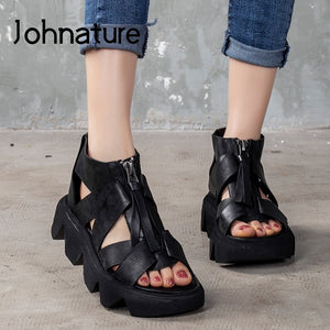 2020 New Spring Platform Sandals Genuine Leather Women Shoes