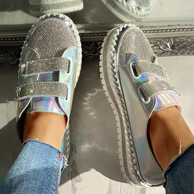 Women Rhinestone Casual Daily Magic Tape Sneakers