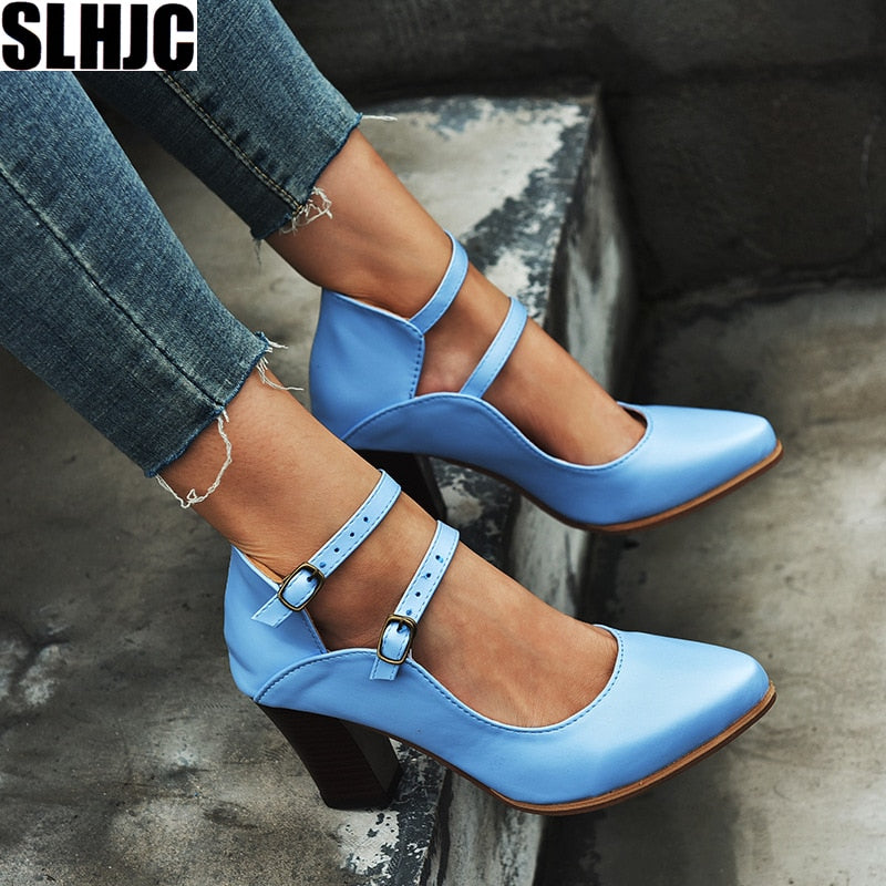 Women High Square Heel Pointy Toe 2 Buckels Plus Size Female Retro Marry Jeans Pumps Sandals