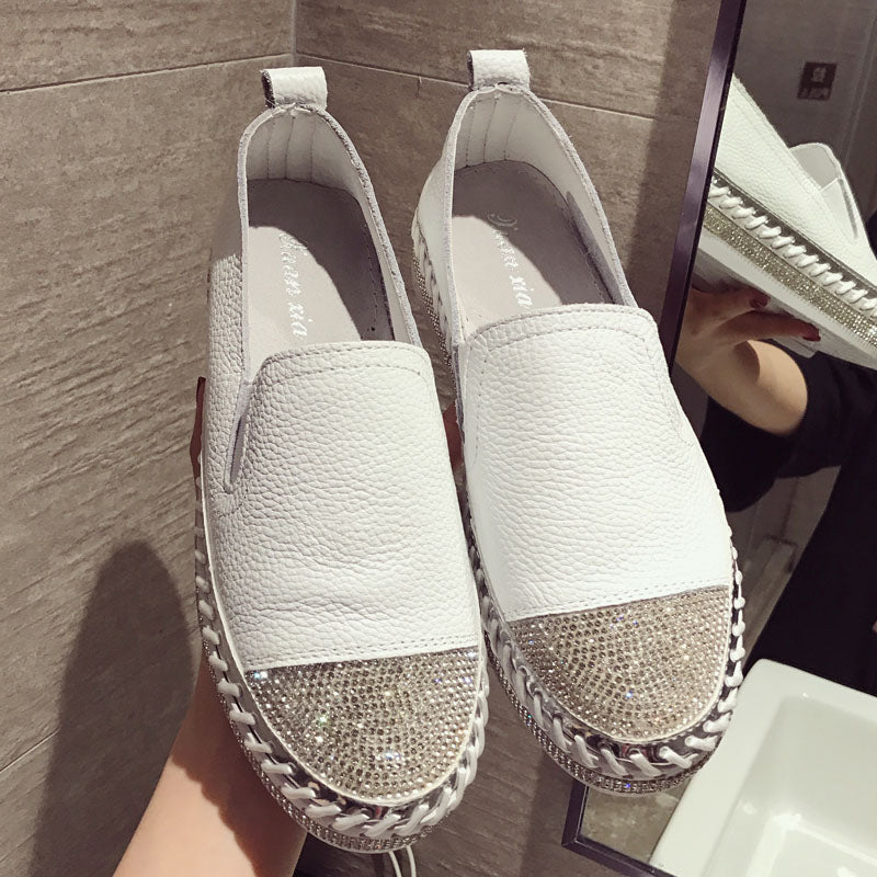 Woman Genuine Leather Creepers Flats Ladies Loafers White Leather Moccasins