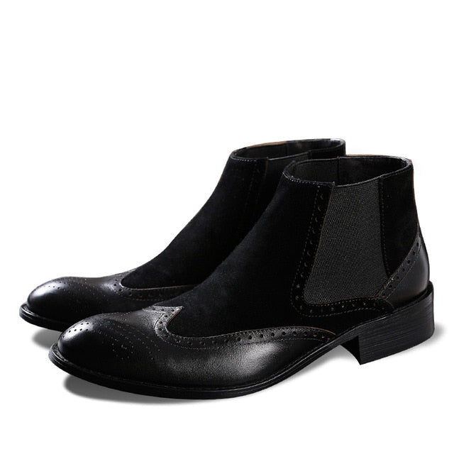Fashion Mens Dress Boots Genuine Leather High Quality Handmade Work Pointed Ankle Boots