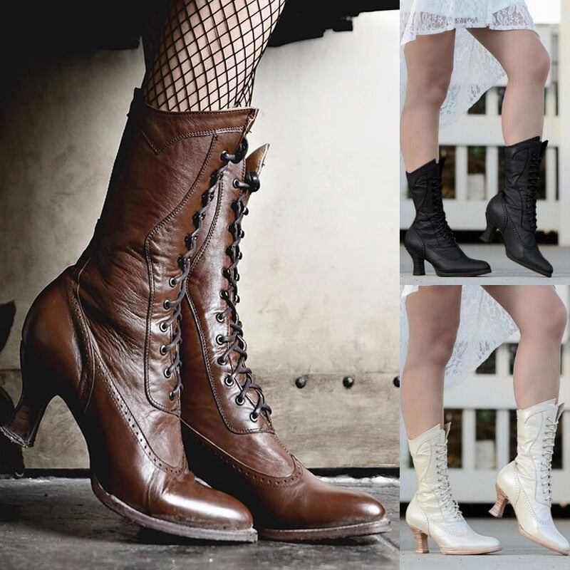Women Autumn Winter Mid-Calf Boots Lace Up Hoof Heels Boots  Retro Victorian Europe Style Shoes Ladies Fashion Boots