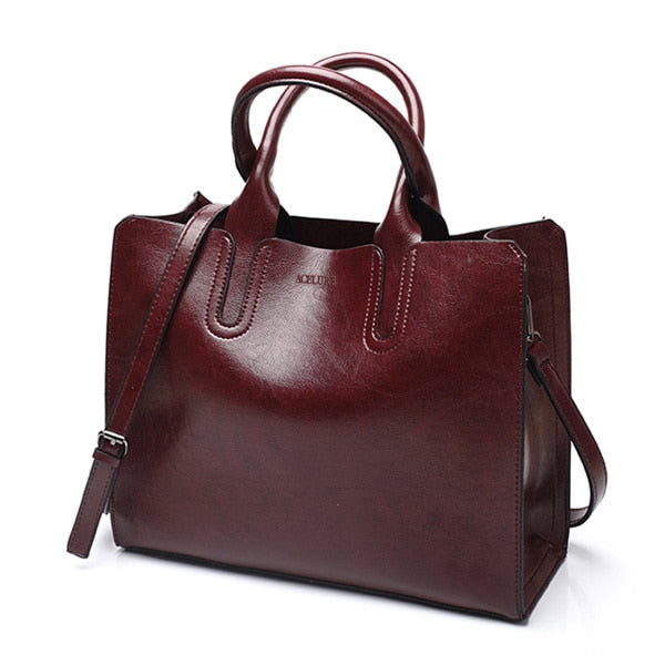 Leather Handbags Big Women Bag High Quality Casual Female Bags Trunk Tote Shoulder Bag
