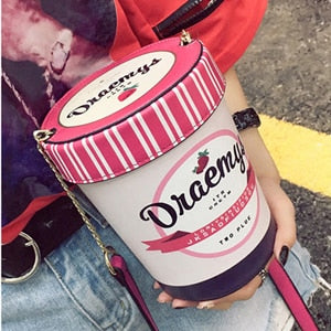 New ice cream cup design women handbag pink bucket bag