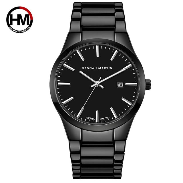 Top Brand Luxury Calendar Stainless Steel Quartz Fashion Business Full Black Waterproof Watches