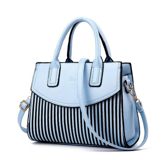 New Brand Design Fashion Women Handbag Stripe Shoulder Bags