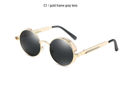 Classic Gothic Steampunk Polarized Metal Frame Sunglasses