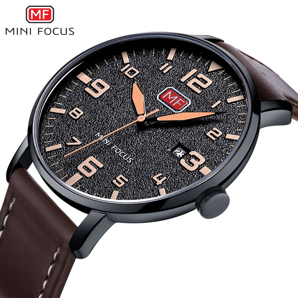 Luxury Brand Men's Wristwatch Quartz Wrist Watch Men Waterproof Brown Leather Strap Fashion Watches