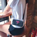 Load image into Gallery viewer, Luxury PINK Glitter Embroidery Leather Case  Fashion Wave Point Lanyard for iphone case