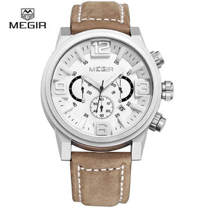 Genuine Leather Quartz Men Watch Sports Military Style Watches