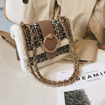 Load image into Gallery viewer, Winter Wool Plaid Fur Feather Mini Handbags Shoulder Crossbody Party Clutch Bags